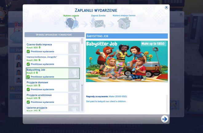 the sims 4 modny piątek praca opiekunki event